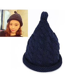 Old Navy Blue Pure Color Twist Simple Design Wool Knitting Wool Hats