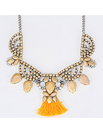 Hanging Gold Color Diamond Decorated Waterdrop Shape Design Alloy Fashion Necklaces