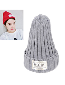 Fashion Gray Letter Rock Decorated Simple Design Wool Knitting Wool Hats