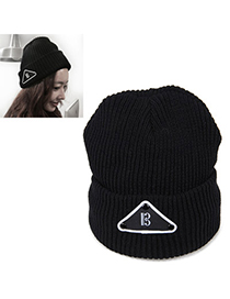 Wrap Black Triangle Shape Decorated Simple Design Wool Knitting Wool Hats