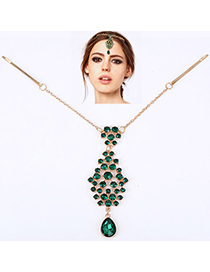 Faux Green Diamond Decorated Waterdrop Pendant Design Alloy Hair clip hair claw