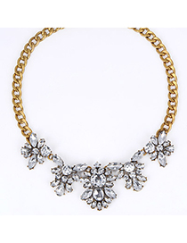 Executive White Diamond Decorated Simple Design Alloy Bib Necklaces