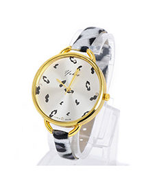 Classical Silver Color & Black Leopard Pattern Simple Design Pu Ladies Watches