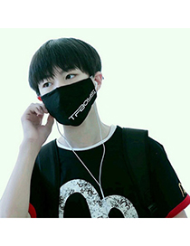 Baggy Black Letter Tfboys Decorated Simple Design