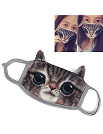 Milly Brown Cat Pattern Decorated Simple Design Cotton Face Mask