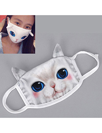 22k White Cat Pattern Decorated Simple Design Cotton Face Mask