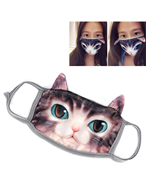 Sparrow Dark Brown Cat Pattern Decorated Simple Design Cotton Face Mask