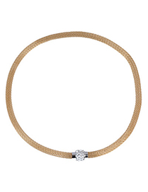 Chiropract Gold Color Diamond Decorated Simple Design Alloy Chokers