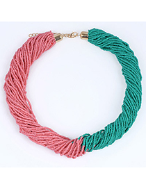 Celebrity Green & Watermelon Red Beads Decorated Weave Design Alloy Korean Necklaces