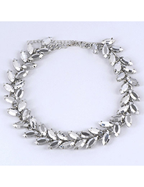 Hiking Silver Color Leaf Shape Decorated Simple Design Alloy Fashion Necklaces