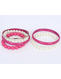 Smart Plum Red Pearl Decorated Multilayer Design Alloy Fashion Bangles