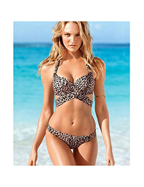 Wishbone Leopard Color Leopard Pattern Simple Design Spandex Sexy Bikini