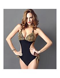 Barbie Leopard Color Siamese Stitching Simple Design Spandex Monokini