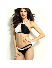 Infinity Black & White Cross-stitching Simple Design Spandex Sexy Bikini