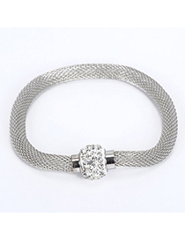 Coral Silver Color Diamond Decorated Simple Design Alloy Korean Fashion Bracelet
