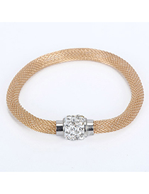 Choker Gold Color Diamond Decorated Simple Design