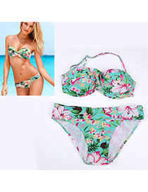 Summer Green Flower Pattern Simple Design Nylon Sexy Bikini