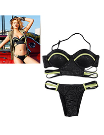 Stainless Black Mixed Color Simple Design Nylon Sexy Bikini