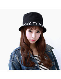 Venetian Black Letter Newyork Pattern Simple Design Canvas Sun Hats