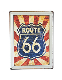 Renaissanc Navy Blue Letter Route 66 Pattern Simple Design Iron Household goods