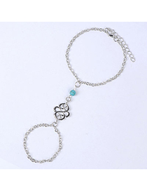 Cherokee Silver Color Beads Decorated Hollow Out Design Alloy Fashion Anklets