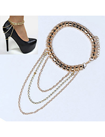 Handmade Gold Color Multilayer Simple Design Alloy Fashion Anklets