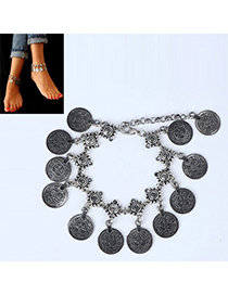 Discount Silver Color Coin Shape Decorated Simple Design Alloy Fashion Anklets