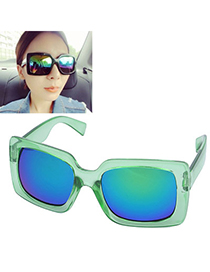 Baroque Transparent Green Square Frame Thick Legs Design Resin Women Sunglasses