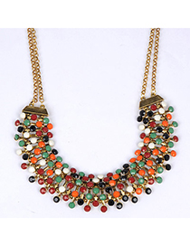 Physical Multicolor Gemstone Decorated Simple Design Alloy Bib Necklaces