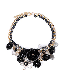 Huge Black Gemstone Decorated Flower Design Alloy Bib Necklaces