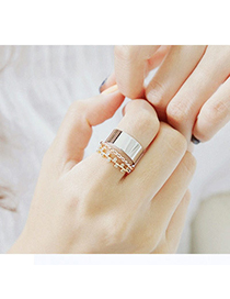 Skinny Gold Color & Silver Color Diamond Decorated Simple Design Alloy Korean Rings