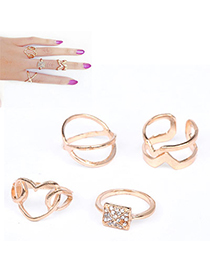 Chiropract Gold Color Diamond Decorated Heart Shape Design Alloy Korean Rings