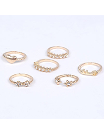Promotiona Gold Color Diamond Decorated Bowknot Shape Design Alloy Korean Rings