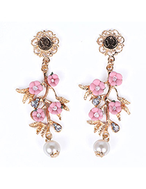 Homecoming Pink Pearl Decorated Flower Design Alloy Stud Earrings