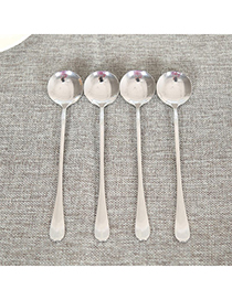 Pregnancy Silver Color Round Spoon Shape Simple Design Stainless Steel Household Goods