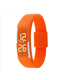 University Orange Pure Color Creative Simple Design Silicone Ladies Watches