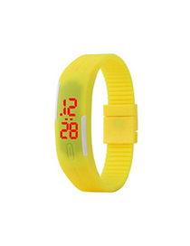 Glossy Yellow Pure Color Creative Simple Design Silicone Ladies Watches