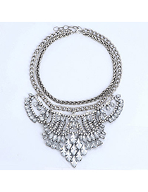 Butterfly Silver Color & White Diamond Decorated Double Layer Design