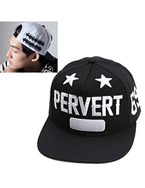 Winding Black Embroideried Star Letter Pattern Simple Design Canvas Baseball Caps