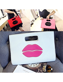 Casual White Lips Pattern Simple Design Pu Shoulder Bags