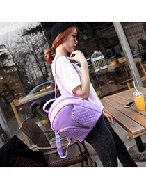 Boutique Purple Rhombus Pattern Decorated Hollow Out Design Pu Backpack