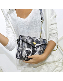 Special Black Serpentine Pattern Simple Design Pu Shoulder Bags