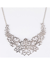 retro beauty Silver Color Flower Decorated Hollow Out Design Alloy Bib Necklaces