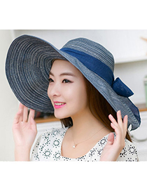 Boutique Navy Blue Bow-knot Shape Simple Design Twine Sun Hats