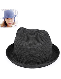 fresh Black Pure Color Crimping Design Twine Sun Hats