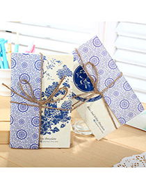 elegant Random Color Blue-and-white Pattern Simple Design(15cards) Paper Postcard Card