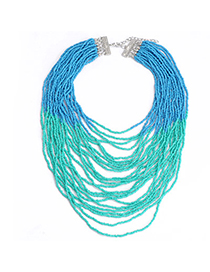 Pretty Blue & Green Beads Decorated Multilayer Design Alloy Korean Necklaces