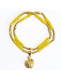 joker Yellow Apple Shape Decorated Doulbe Layer Design Alloy Fashion Bracelets