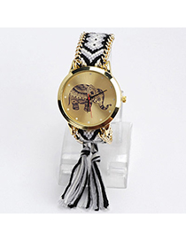 lovely Gray & Black Elephant Pattern Decorated Tasel Design Alloy Ladies Watches