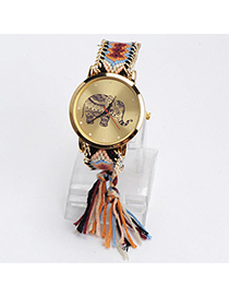 lovely Orange & Black Elephant Pattern Decorated Tasel Design Alloy Ladies Watches